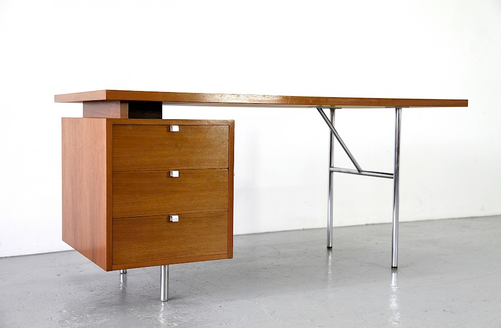 Modern Teakwood Writing Desk / Schreibtisch By George Nelson For Herman  Miller 1948_1