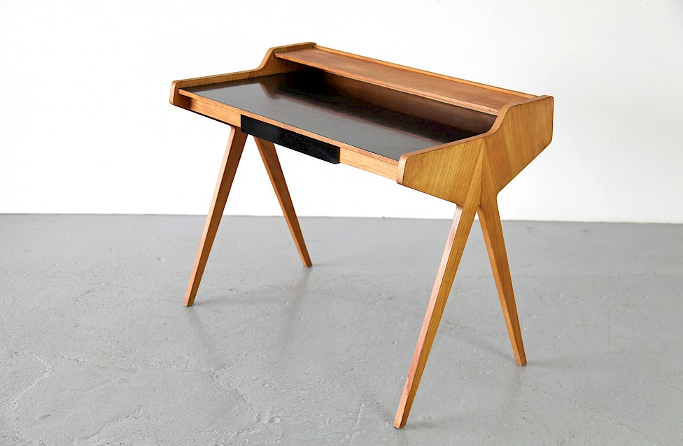 Mid Century Modern Formica Writing Desk / Schreibtisch by Helmut Magg for WK, 1952 - Made in Germany_1