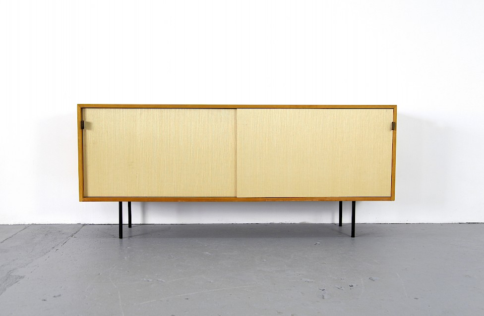 Mid Century Modern Maple and Seagrass Sideboard with Leather Door Handles by Florence Knoll for Knoll International_1950_10