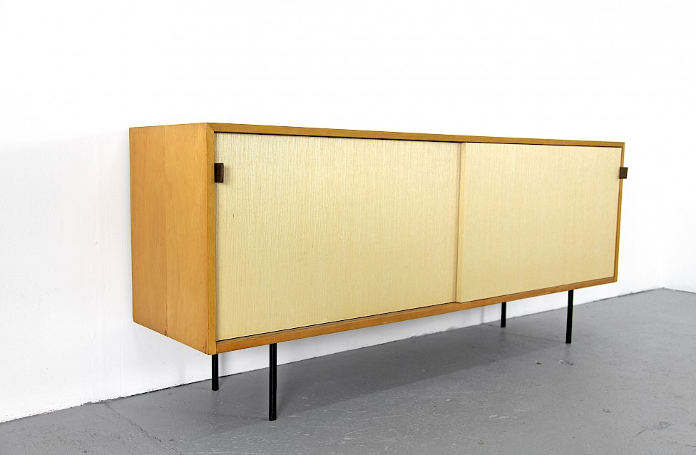 Mid Century Modern Maple and Seagrass Sideboard with Leather Door Handles by Florence Knoll for Knoll International_1950_2