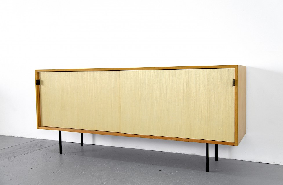Mid Century Modern Maple and Seagrass Sideboard with Leather Door Handles by Florence Knoll for Knoll International_1950_3
