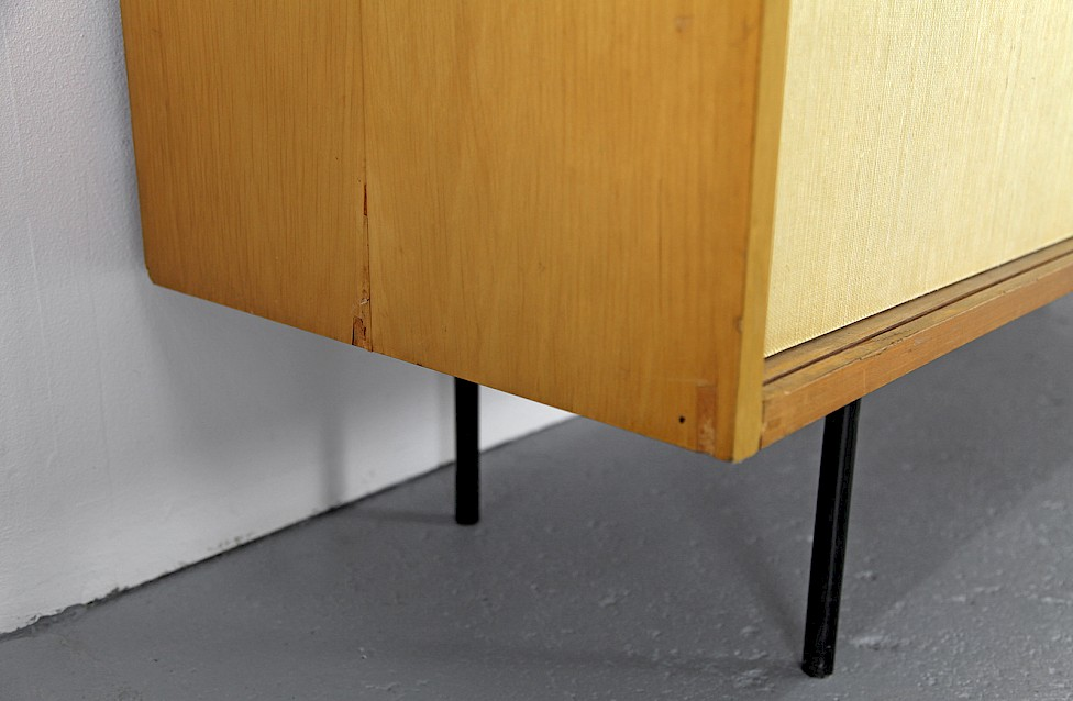 Mid Century Modern Maple and Seagrass Sideboard with Leather Door Handles by Florence Knoll for Knoll International_1950_5
