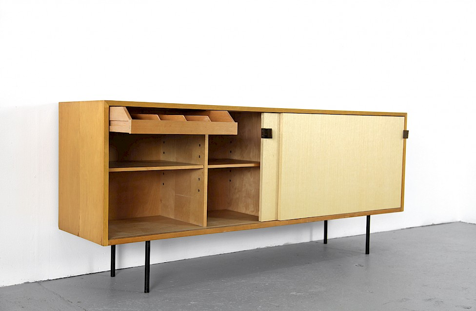 Mid Century Modern Maple and Seagrass Sideboard with Leather Door Handles by Florence Knoll for Knoll International_1950_Gallery