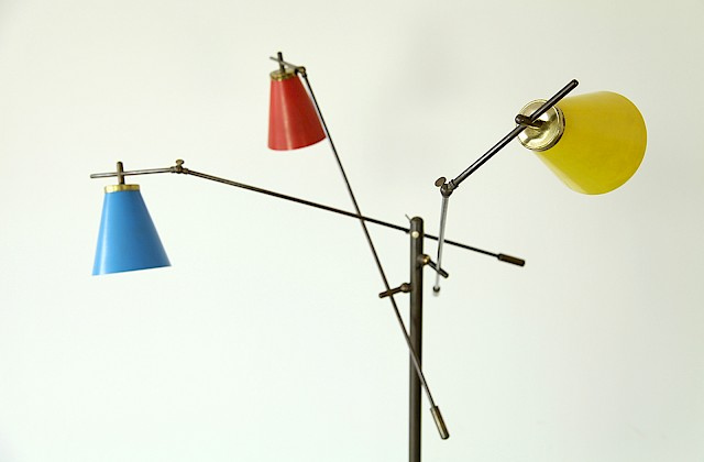 Mid Century Modern Three coloured Italian Floor Lamp with Brass 1950 - Made in Italy_Gallery