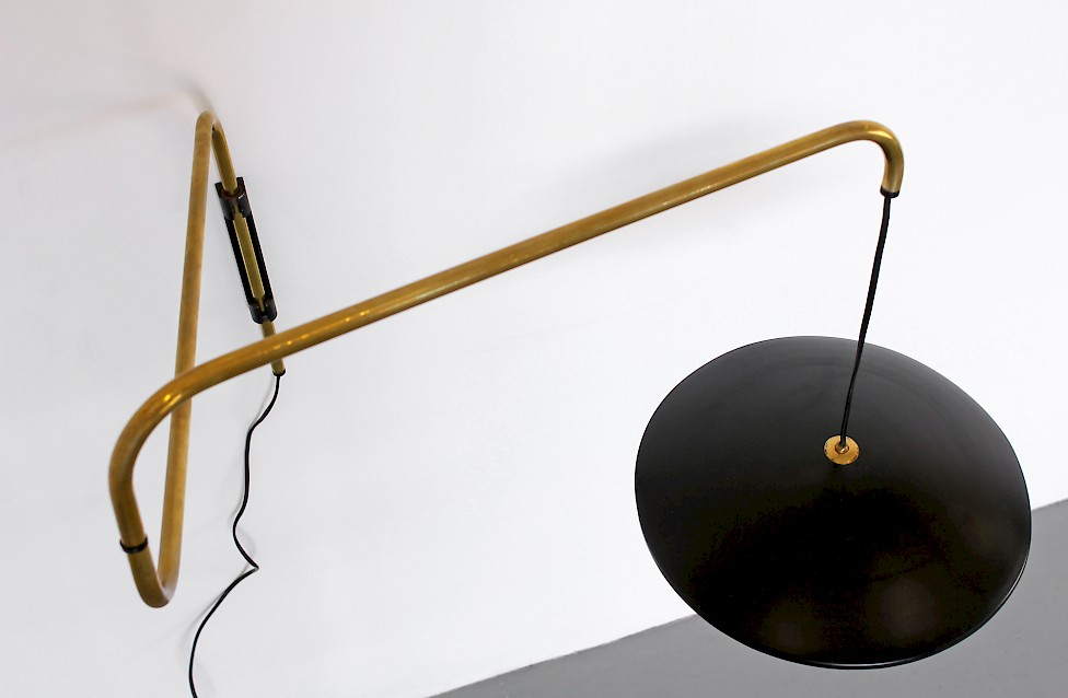 Mid Century Modern Brass Wall Lamp with Swivel Arm 1950s - Made in Italy_Gallery