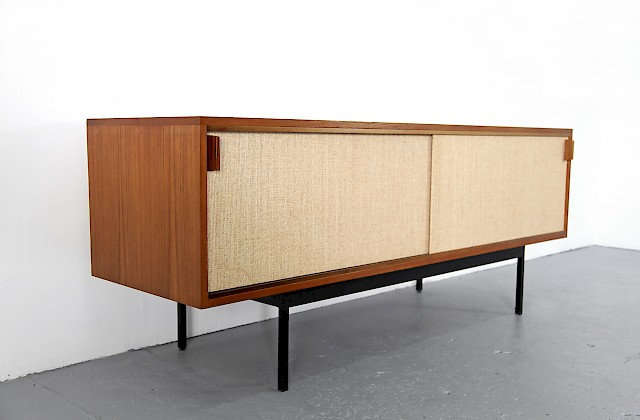 Mid Century Modern Teak and Seagrass Sideboard by Dieter Waeckerlin for Behr Moebel - Made in Germany_2_1