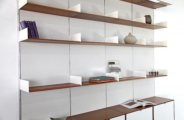 Wall Unit / Shelving System Teak and Resopal by Florence Knoll for Knoll International 1950_Gallery
