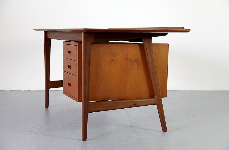 Danish Modern Teak Writing Desk Schreibtisch By Arne Vodder For Sibast Made In Denmark 7