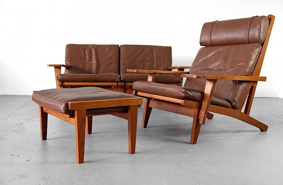 Teak And Leather Lounge Chair With Ottoman G 375 By Hans J Wegner For Getama