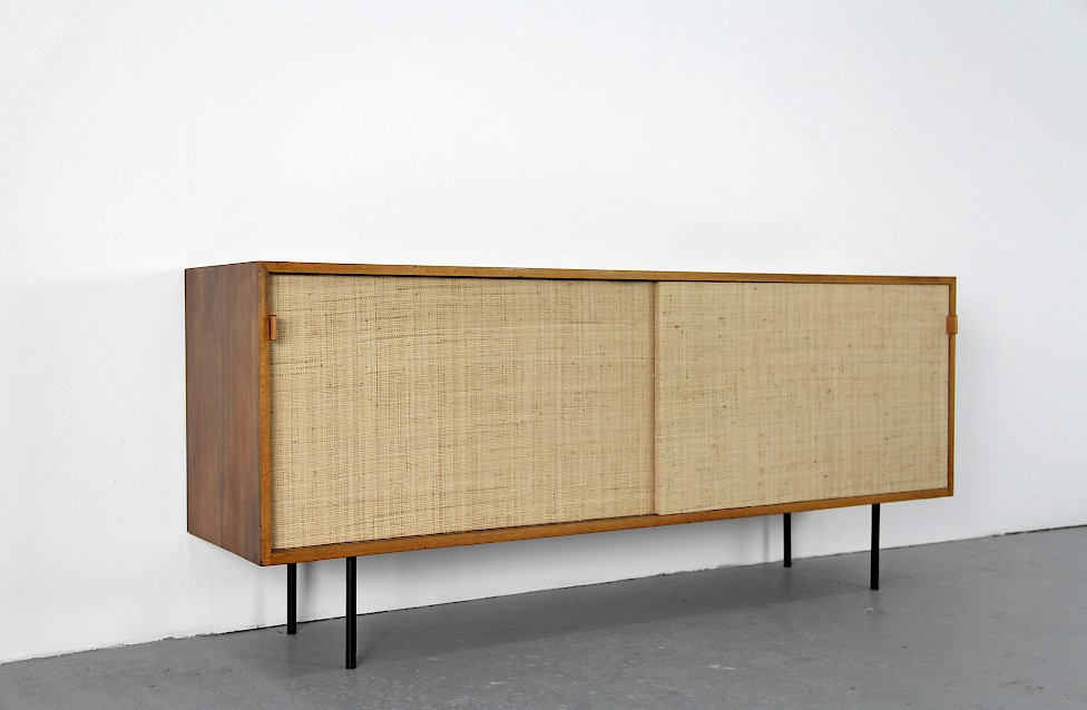 walnut and seagrass sideboard by florence knoll for knoll. Black Bedroom Furniture Sets. Home Design Ideas