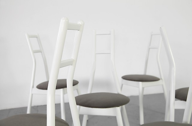 6 Dining Chairs Holz Wood Stuehle Model Faun by Vico Magistretti for Rosenthal - Made in Germany_1
