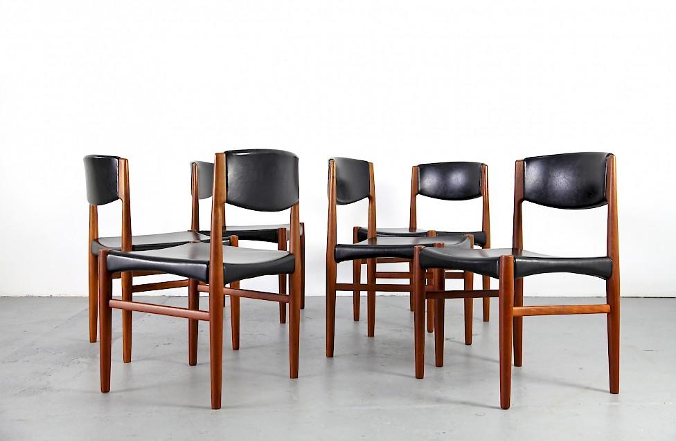 Danish Modern Teak Dining Chairs With Skai By Glostrup