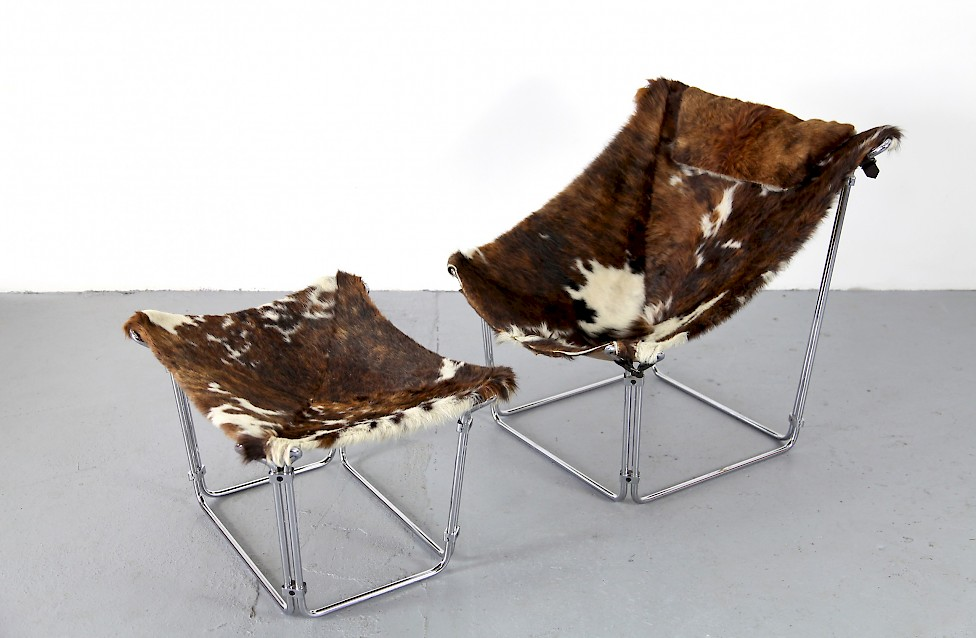 Cowhide Lounge Chair with Ottoman Turbular Steel by Kwok Hoi Chan for Steiner Paris France 1969 Mid Century Modern_2