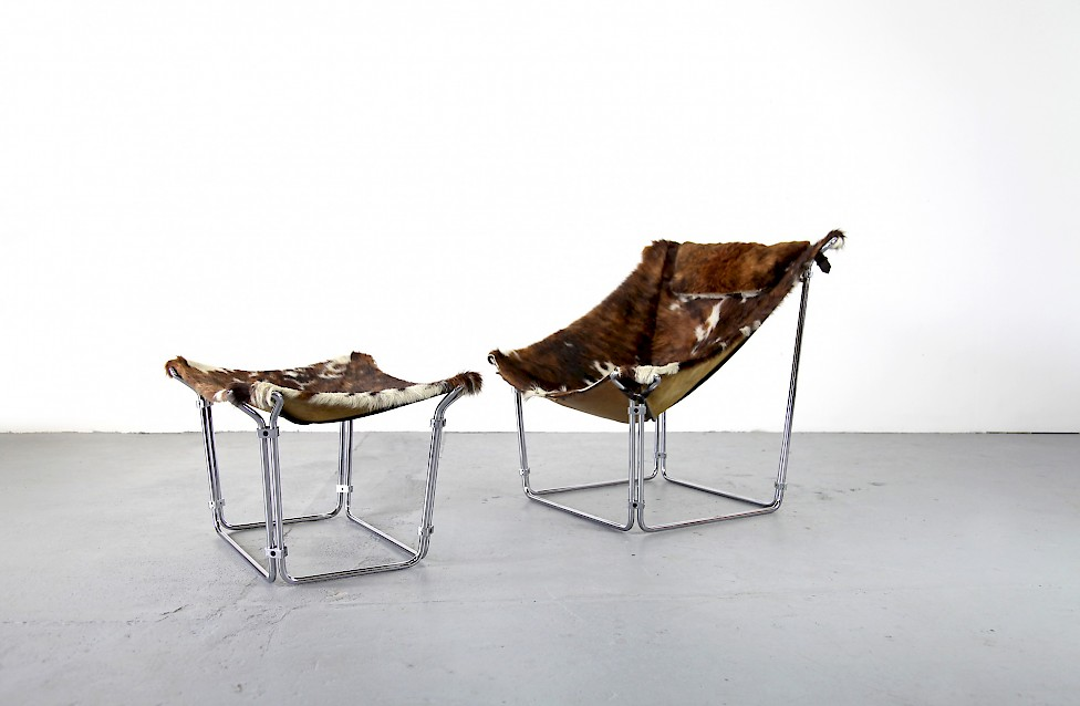 Cowhide Lounge Chair with Ottoman Turbular Steel by Kwok Hoi Chan for Steiner Paris France 1969 Mid Century Modern_1