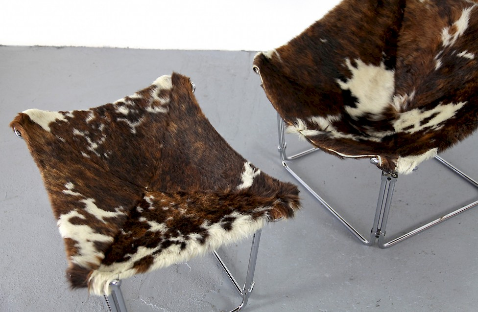 Cowhide Lounge Chair with Ottoman Turbular Steel by Kwok Hoi Chan for Steiner Paris France 1969 Mid Century Modern_11