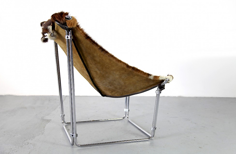 Cowhide Lounge Chair with Ottoman Turbular Steel by Kwok Hoi Chan for Steiner Paris France 1969 Mid Century Modern_3