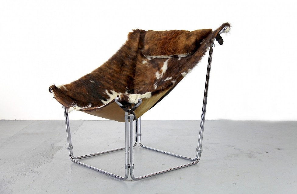 Cowhide Lounge Chair with Ottoman Turbular Steel by Kwok Hoi Chan for Steiner Paris France 1969 Mid Century Modern_9