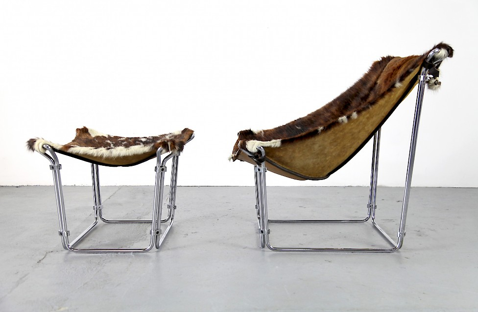 Cowhide Lounge Chair with Ottoman Turbular Steel by Kwok Hoi Chan for Steiner Paris France 1969 Mid Century Modern_12