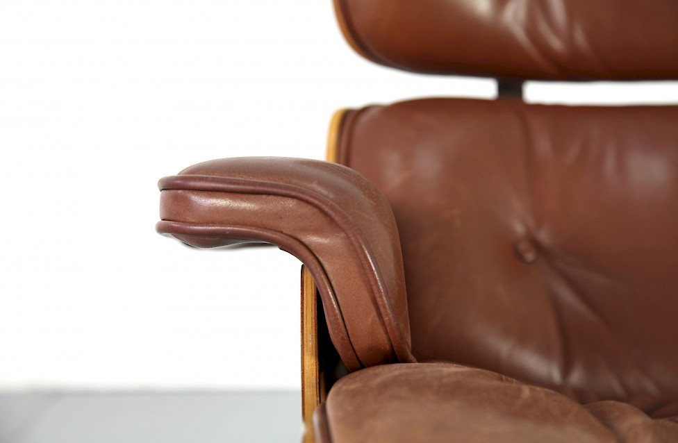 original brown leather eames lounge chair by ray charles eames