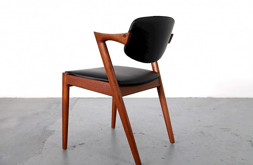 teak echtleder st hle von kai kristiansen adore modern. Black Bedroom Furniture Sets. Home Design Ideas