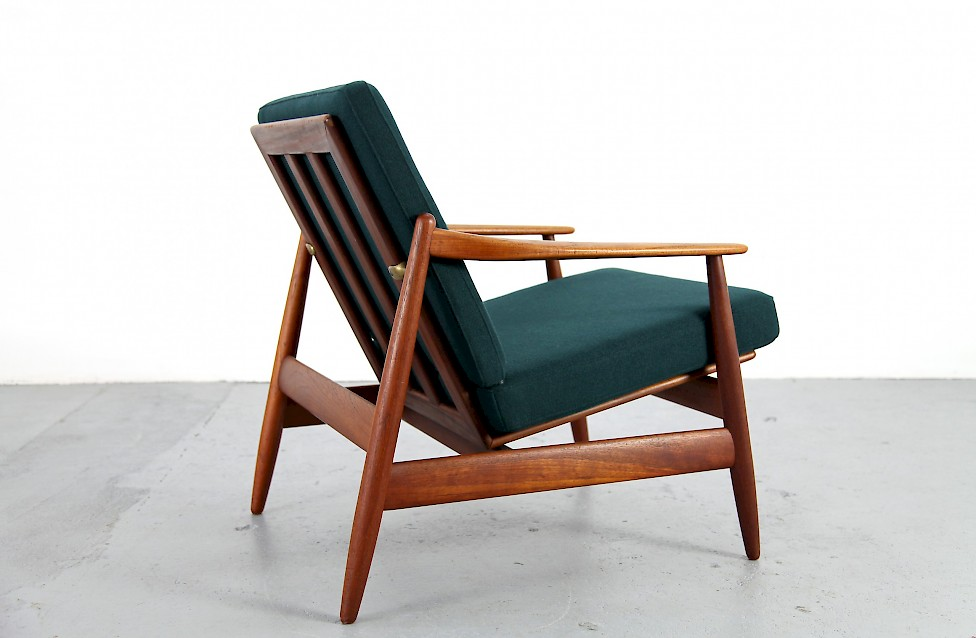 teak easy chair with kvadrat fabric by hans olsen nr 2. Black Bedroom Furniture Sets. Home Design Ideas