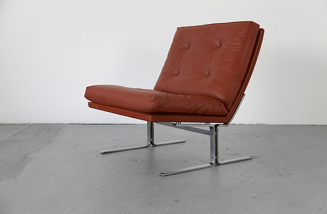 Mid Century brown Leather easy chair made in denmar by Centrum møbler_9