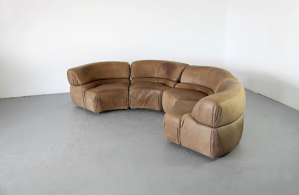 Four Parts Modular Sofa Elements In Real Leather Adore
