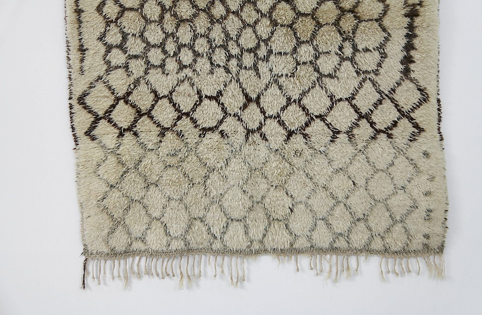 Vintage Berber Wool Carpet / brown, green & white