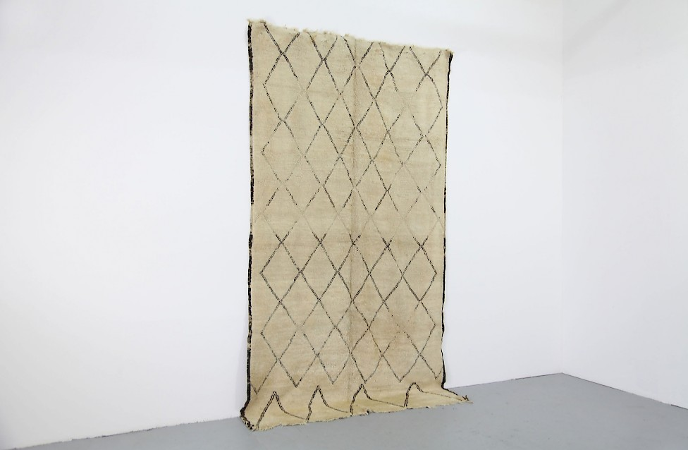 Vintage Berber Wool Carpet / Diamond Pattern