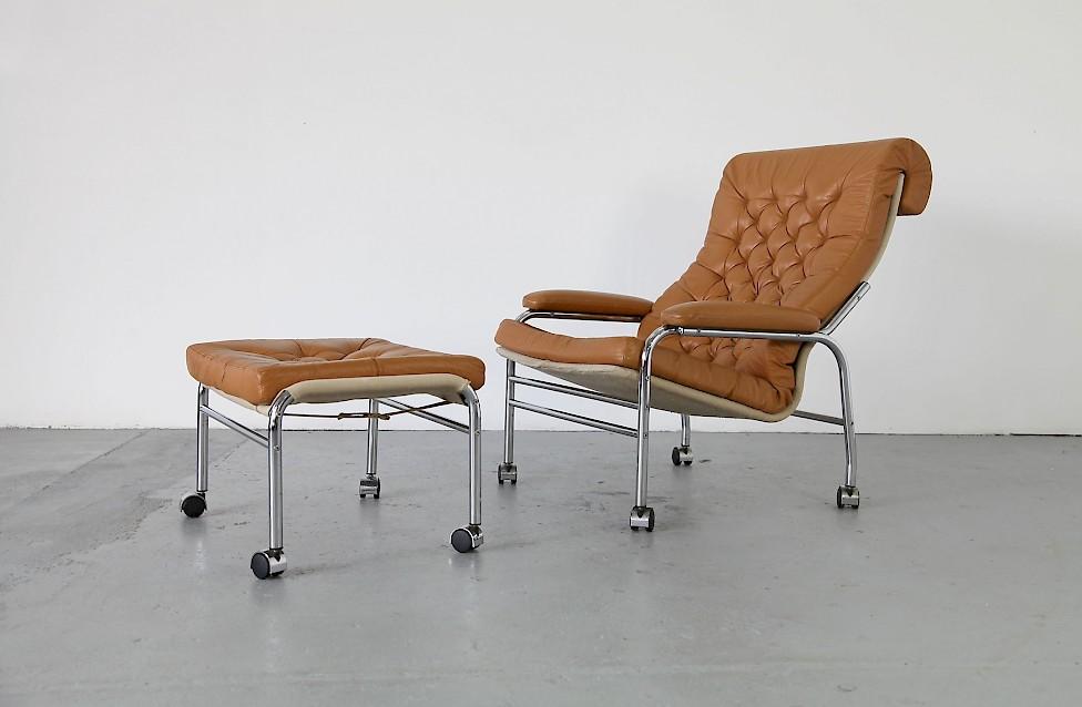 leder lounger mit fu hocker adore modern. Black Bedroom Furniture Sets. Home Design Ideas