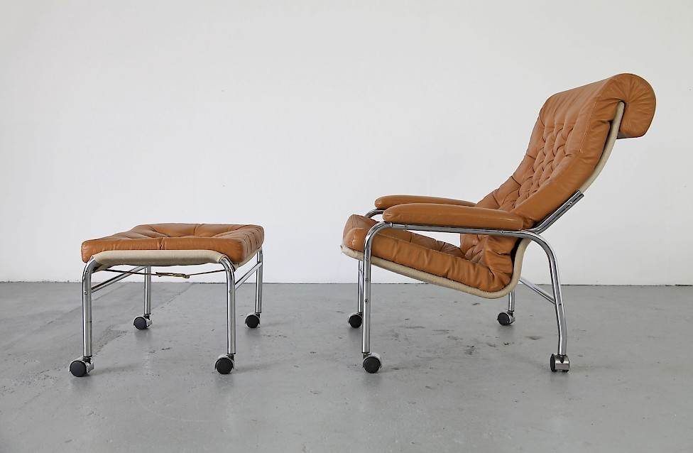 Leather Lounge Chair W/ Ottoman. By Bruno Mathsson