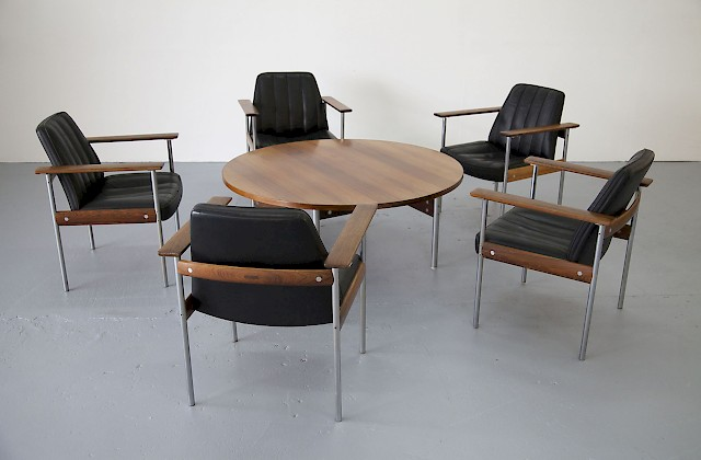 Five Arm Chairs & Table by Sven Ivar Dysthe