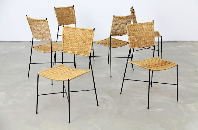 Set of Six Wicker Dining Chairs
