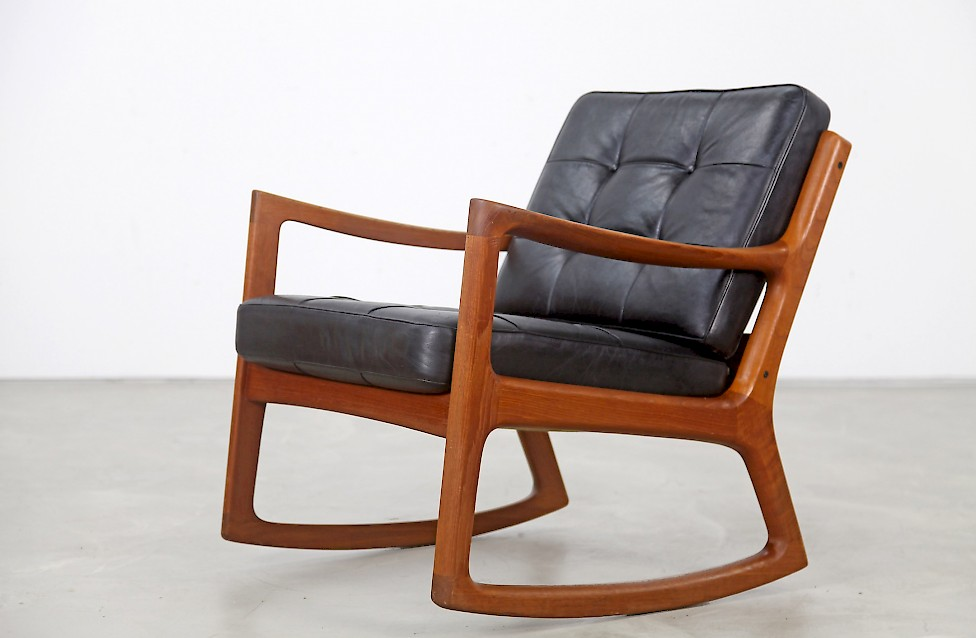Teak Rocking Chair With Leather Adore