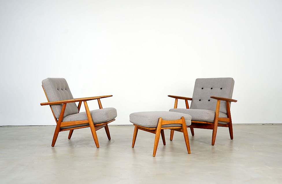 Two Cigar Easy Chairs and one Stool by Hans J. Wegner