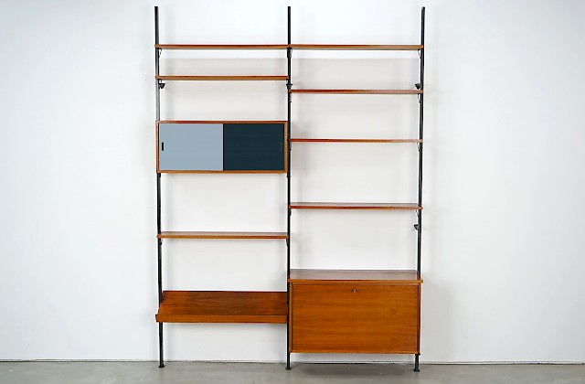 """Pira"" Shelving Unit with Reversible Sliding Doors"