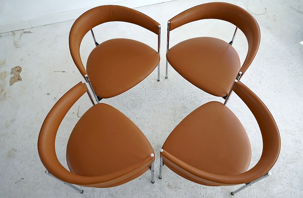 Four Three-legged Chairs by Dieter Waeckerlin
