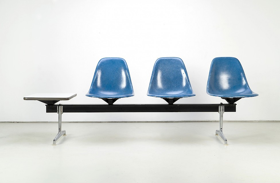 """Charles and Ray Eames - """"Tandem Seating"""" /w Table"""