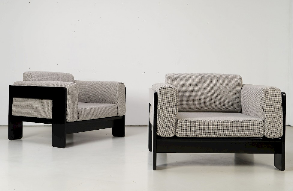 """""""Bastiano"""" Lounge Chairs by Afra & Tobia Scarpa with Bright Fabric"""